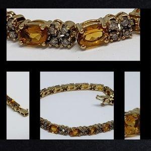 Jewelry - 14K Solid YG Citrine & Champagne Diamond Bracelet